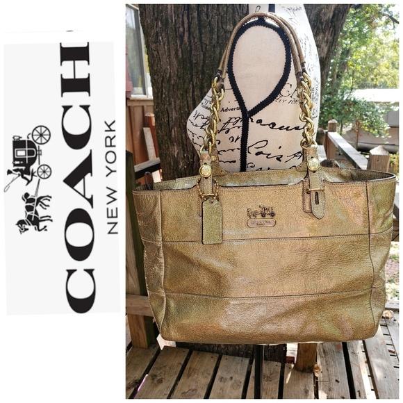 Coach Handbags - Metallic Gold Coach Large Handbag  Authenic
